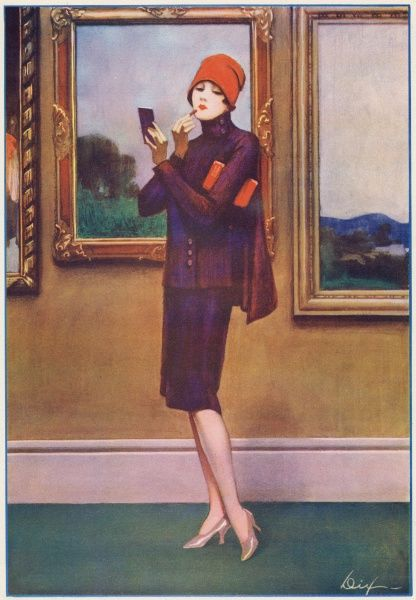 A smartly dressed flapper girl pauses to apply lipstick in an art gallery