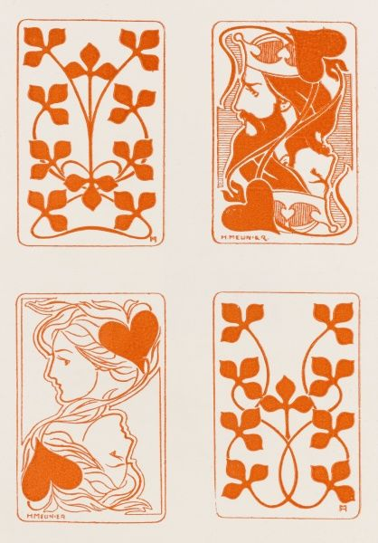 Art nouveau style playing card designs by Henri Meunier