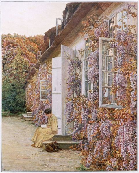 A beautiful display of wisteria in full bloom all along the side of a house with open doors and windows
