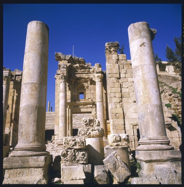 Detail of the entrance to the Roman temple of Artemis in Gerasa (modern-day Jerash) in Jordan