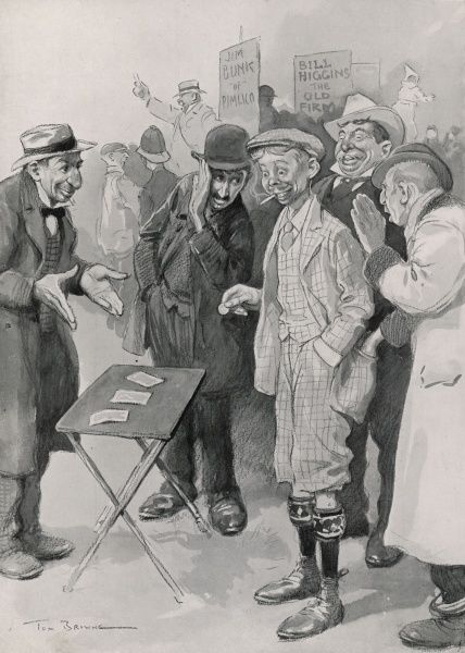 A gullible looking young man in plus fours and flat cap is encouraged to bet on a three card trick by a group of Jewish touts
