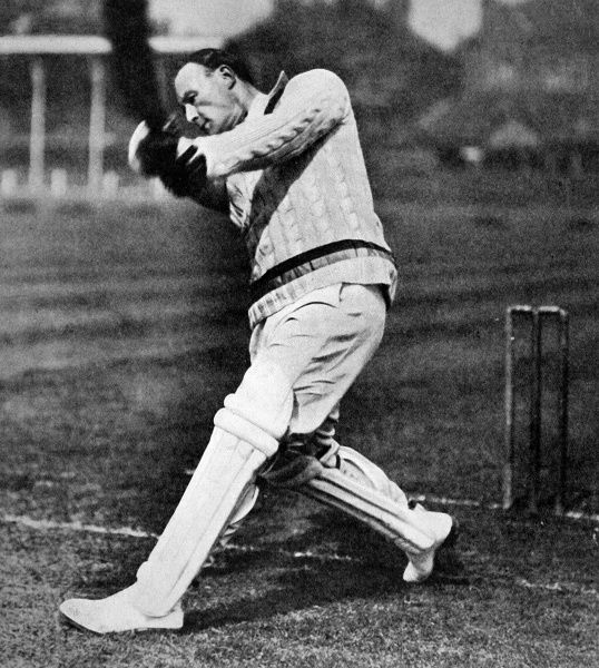 Photograph of Arthur W. Carr (1893-1963), the Nottinghamshire and England batsman, playing a strong shot in 1926. Carr was appointed England Captain in 1926, but played only 11 matches for England, averaging 19.75 in 13 innings
