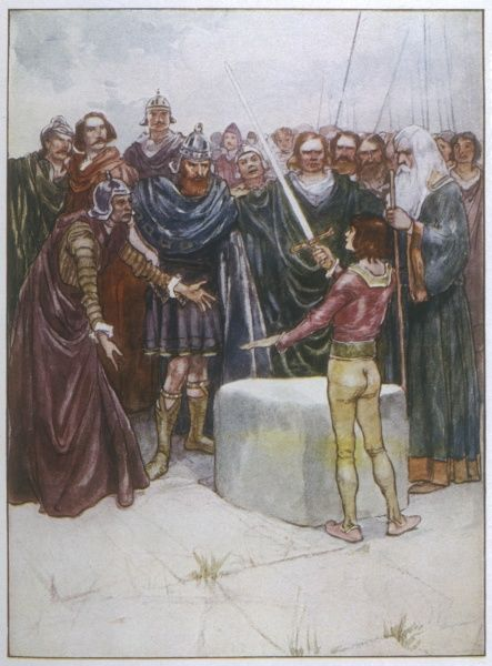 The young Arthur astonishes all by drawing the sword from the stone