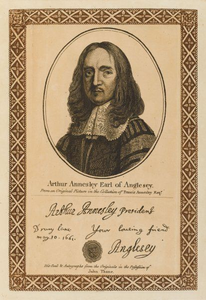 ARTHUR ANNESLEY, earl of ANGLESEY Irish statesman with his autograph
