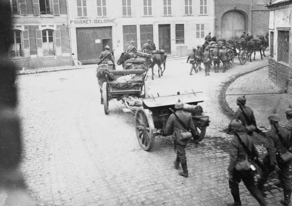 German artillery marching through St Sulpice on the Western Front during World War I