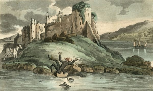 While seeking a suitable point from which to sketch a ruin, Dr Syntax slips... Date: 1815
