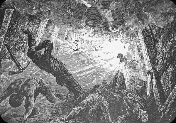 An artist's impression of a colliery explosion caused by firedamp, used in lectures on mining, taken from the Illustrated London News