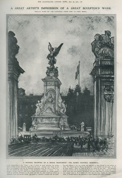 The Queen Victoria Memorial monument, sculpted by Sir Thomas Brock and unveiled in a ceremony on 16th May 1911