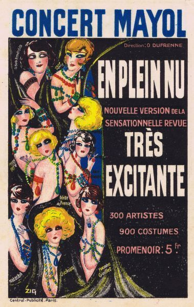 Artwork for show at Concert Mayol, Paris, 1925. Artwork by Zig 1925