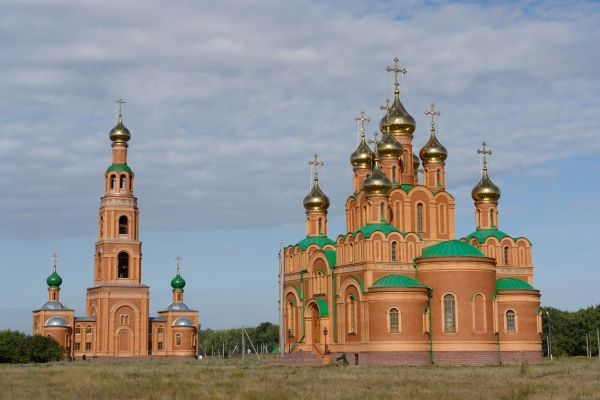 View of the Ascension Cathedral, with belfry on the left, 55km south of the city of Omsk, Siberia, Russia. It belongs to the Achairsky Monastery, which was founded in 1905