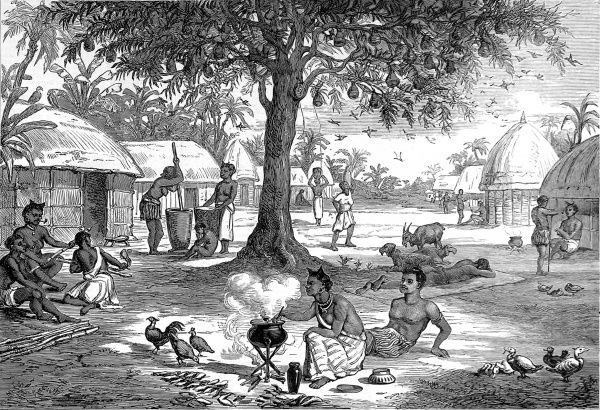 Normal life in an Ashanti village before the outbreak of the second Ashanti War in 1873-74
