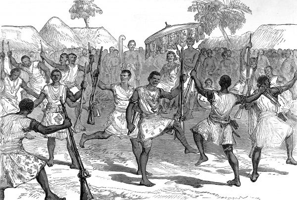 War dance of the Ashanti men folk. British forces engaged the Ashanti people in battle for possession of the coastline of West Africa