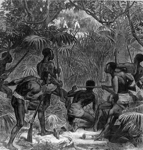 Ashanti people in ambush in the jungle during the British expedition to secure the West Coast of Africa from the King of the Ashanti people