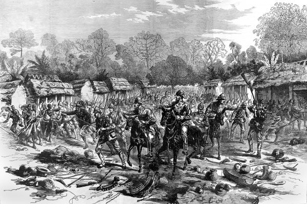 Sir Garnet Wolseley entering Kumasi (Coomassie), capital of the Ashanti during its brief capture by the British and native troops. The second Ashanti War fought between,1873-74, was between King Kofi Karikari, ruler of the Ashanti (or Asantehene)