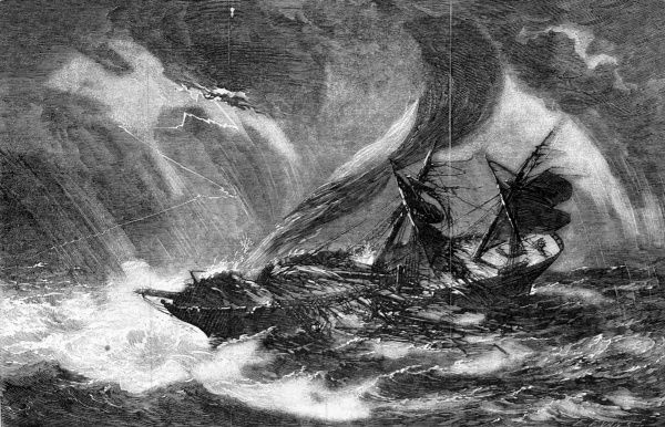 The Asia dismasted by a waterspout on her passage from Port Phillip to Bombay. The rain flooded the decks ankle deep, the fall of the foremast had crushed all that lay beneth. Date: 22nd April 1854