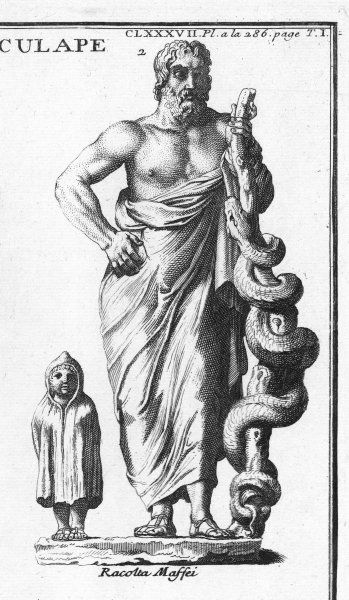 Greek - Roman god of medicine and healing : the serpent twined round a staff was his attribute