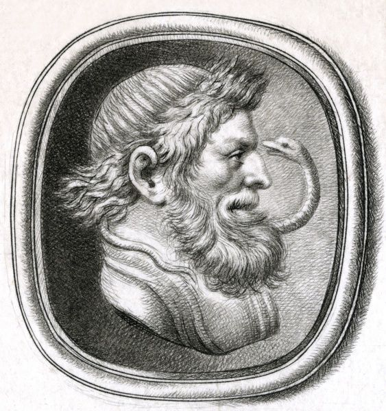 Asklepios (Asclepius), the Greek god of medicine and healing, adopted by the Romans as Aesculapius. Date: BCE
