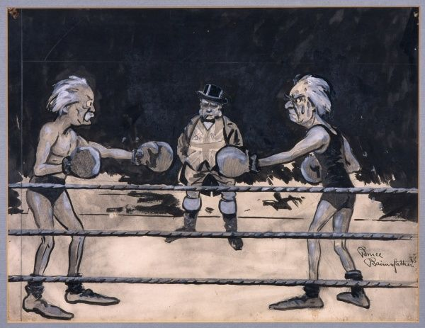 Humorous satirical illustration by Bruce Bairnsfather showing the politicians, Asquith and Lloyd George, both of whom served as Prime Minister during World War I, in a boxing ring facing each other. The referee is a serious looking John Bull