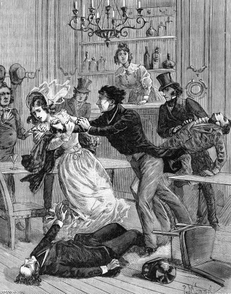 After retiring from the Free-Masons with some hostiliry, Mr and Mrs Emiliani and Mr Lazzoneschi were assassinated by Brother Gaviol. Date: 1890s