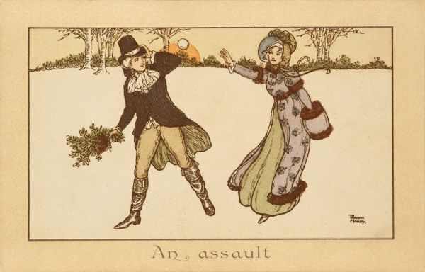 A couple from the late 18th century flirt and throw snowballs in the snow