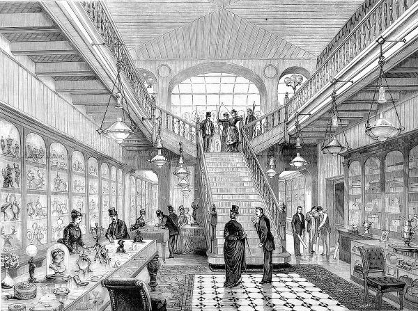 Engraving showing the interior of Messrs. Asser and Sherwin's Archery and Cricket repository, Strand, London, 1875. The necessity of a store devoted to the two sports reflects their popularity through the late 19th century