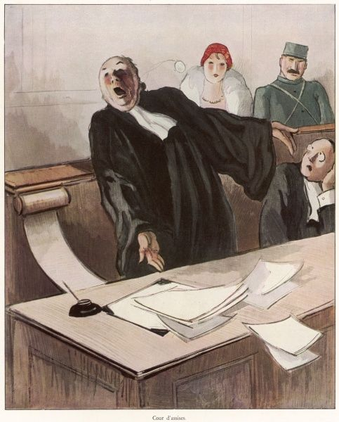 A barrister in full flow at an Assizes Court