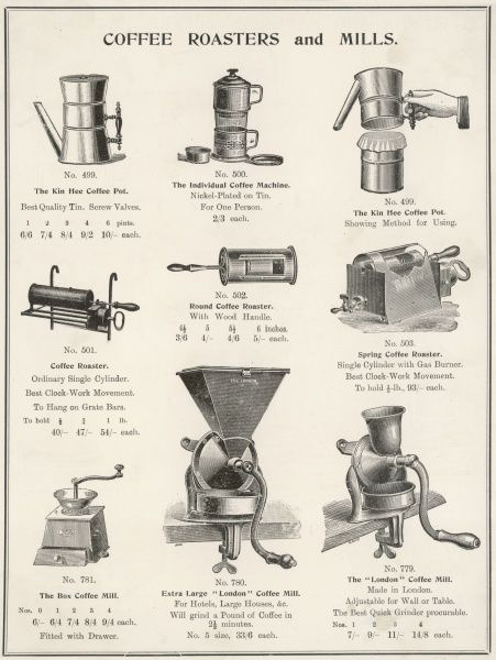 An assortment of coffee roasters and mills