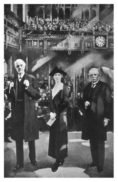 NANCY, LADY ASTOR Vicountess Astor, standing between Lord Balfour and Lloyd George, becomes the first woman MP, 1919