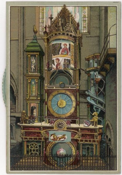 The astronomical clock in Strasbourg cathedral was first built in 1354 and rebuilt in 1574