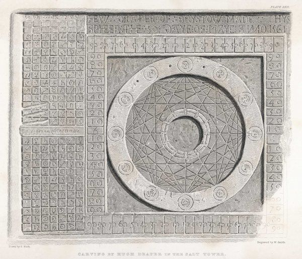 Astronomical Clock carved into the wall of the Salt Tower by Hugh Draper who was imprisoned there in 1561