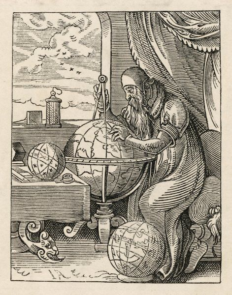 A German astronomer and cosmographer, at work on a globe with his compasses