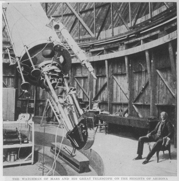 Professor Percival Lowell in the observatory he built at Flagstaff, Arizona