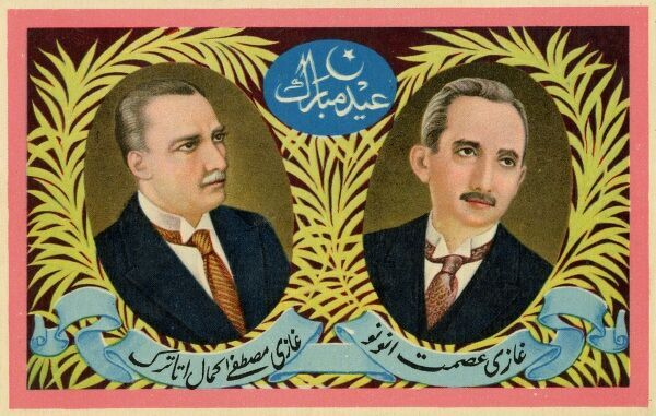 Postcard depicting Mustafa Kemal Ataturk (1881 - 1938) and Ismet Inonu (1884 - 1973) - the effective founders and leaders of the Turkish Republic - inspiration to many in the Middle East, particularly Northern India, who saw, the ending of the