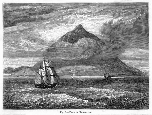 The Peak of Tenerife viewed from the sea. Date: circa 1860