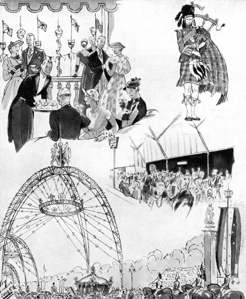 From a series of Vignettes drawn upon the Royal route in London. The illustration features the Royal Route, a bagpiper, high society spectators, and other spectators drinking tea and beer. 1953