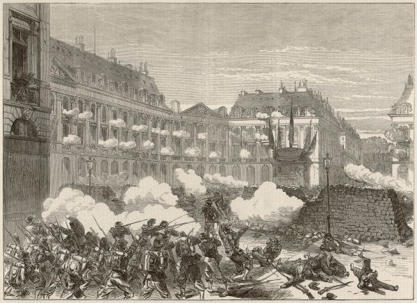 Illustration showing the attack, by Government troops, on the Communards in the Place Vendome, 1871. This was one of the last pockets of Communard resistance against the French Army, finally falling on 23rd May 1871