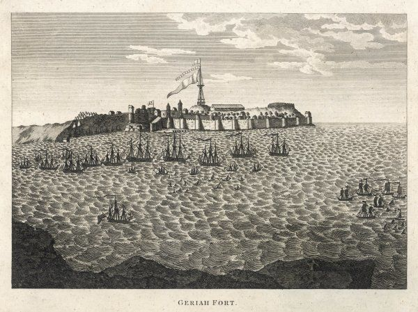 Geriah Fort, northwest India, stronghold of Maratha pirate Tulagee Angria, is attacked and taken by a combined British/Portuguese force under admirals Pocock and Watson