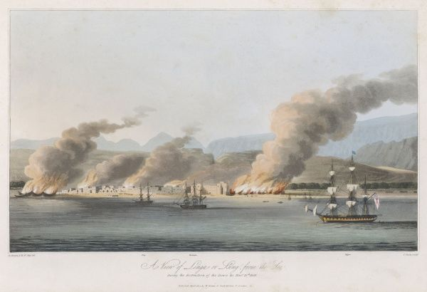British forces attack the pirate stronghold of Linga, on the Straits of Hormuz. Dhows are seen burning on the left