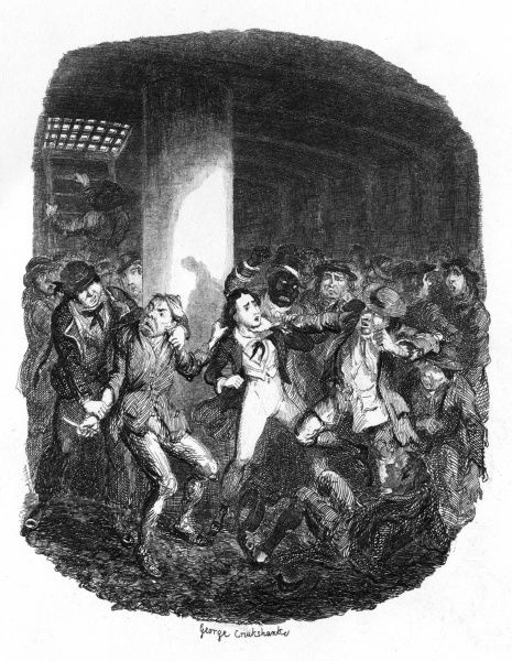 Frank and Sambo, attacked by Ruffians, in the hold of the Tender. Date: 1842