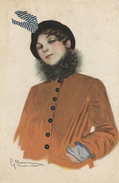 Attractive and Stylish Italian Girl, wearing an orange jacket with a fur collar and a wonderful hat with blue and white striped decoration