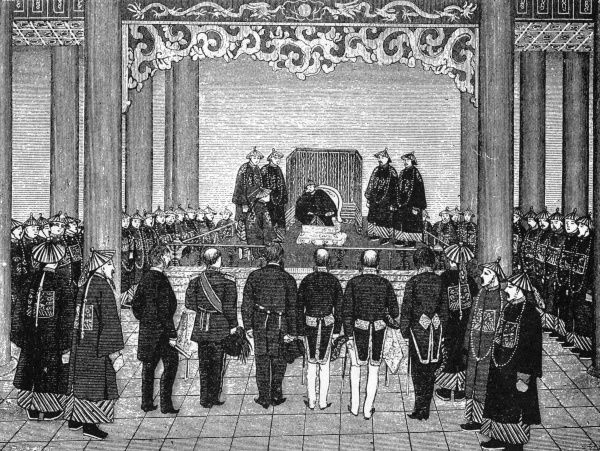 Emperor Tung Chih grants an audience to representatives of foreign powers in China. Date: 29 June 1873