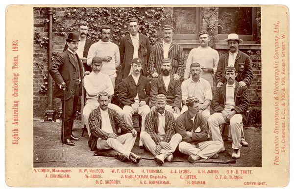 The Eighth Australian Cricketing Team of 1893 pose in their cricket whites and a variety of caps and blazers