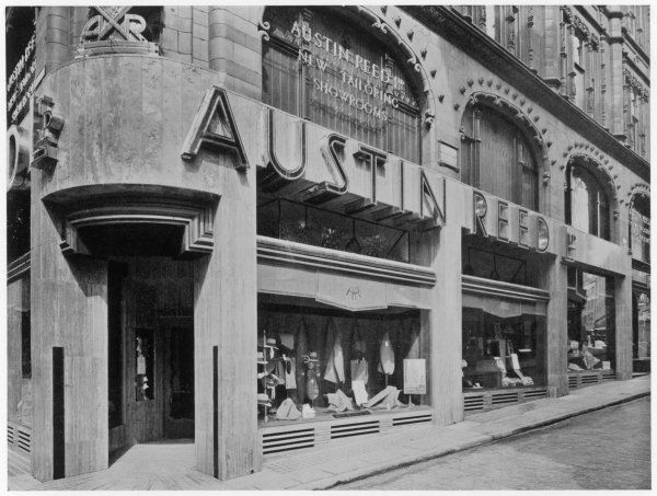 The modernistic shopfront of the London mensear store Austin Reed in the 1930s