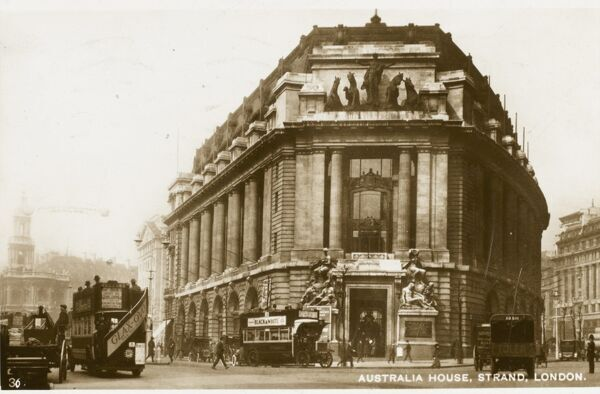 Australia House, Strand, London - 'Bush House' - now the home of the BBC World Service. The Church of St Mary-le-Strand can be seen back left