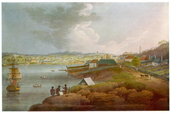 Sydney Cove in the early days of the colony Date: circa 1803