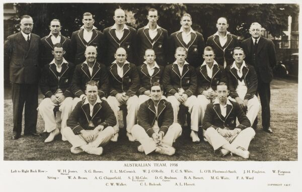 The Touring Australian cricket team of 1938, with Captain (Sir) Donald Bradman seated (centre)