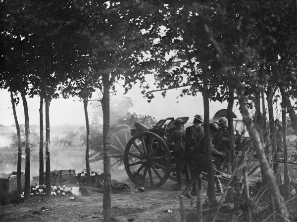 An Australian Howitzer in action in the Somme Offensive on the Western Front in France during World War I in August 1918