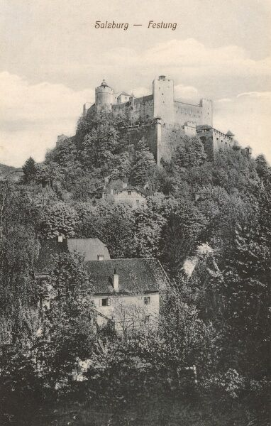 Austria - Salzburg - Hohensalzburg Castle ('High Salzburg Fortress'), construction of which began in 11th century. Date: circa 1910s