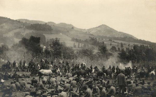 Austro-Hungarian troops in an army encampment in Serbia during the First World War. Date: circa 1914