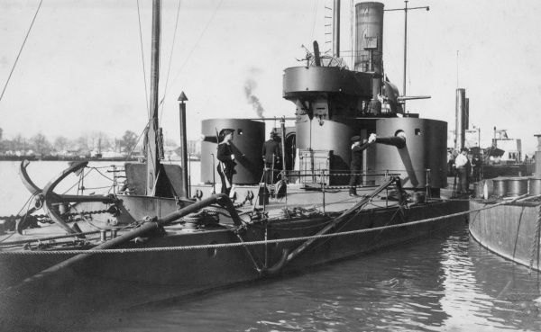 An Austrian or German ship in harbour, with crew members, during the First World War. Date: 1914-1918